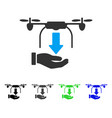 unload drone hand flat icon vector image vector image