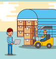 warehouse workers operator and driver forklift vector image vector image