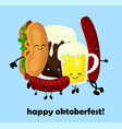 weboktoberfest grilled sausages beer and hot dog vector image vector image