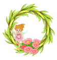 A green round border design with a fairy vector image vector image