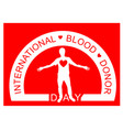 a man with red heart world blood donor day logo vector image