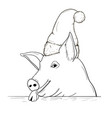 a pig sketch in a new year hat vector image
