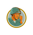 American Soldier Serviceman Calling Radio vector image vector image