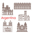 argentina landmarks famous buildings icons vector image vector image