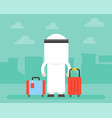 back side of arab business man and luggage with vector image vector image