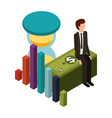 businessman with hourglass and set icons vector image vector image