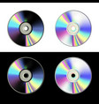 cd disk set on white and black background vector image vector image