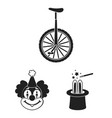 circus and attributes black icons in set vector image vector image