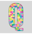Color Piece Puzzle Jigsaw Letter - Q vector image