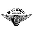 crazy wheels motorcycle wheel with wings isolated vector image vector image