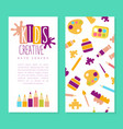 creative arts center business card template kids vector image