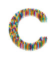 crowd people in form capital letter c flat vector image vector image