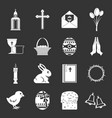 easter items icons set grey vector image vector image