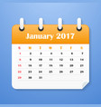 european calendar for january 2017 vector image vector image