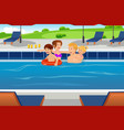 family having fun in a swimming pool vector image vector image