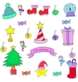 Funny color christmas of doodle vector image