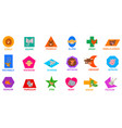 geometric shapes with cute animal characters vector image