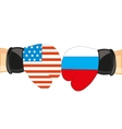 Gloves in colour flag to russia and usa vector image