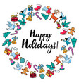 happy holidays hand lettering festive round frame vector image vector image