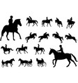 horse riding silhouettes collection equestrian vector image vector image