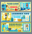 housewife cleaning floor and laundry guide banners vector image vector image
