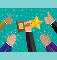human hands with cup clapping and hold thumbs up vector image