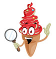 ice cream with magnifying glass on white vector image vector image