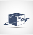 icon plane flies around cardboard box vector image