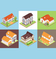 isometric private house design concept set vector image