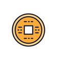 japanese money yen feng shui coin amulet for vector image
