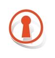 Keyhole sign sticker orange vector image