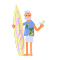 old man with surfboard vector image vector image