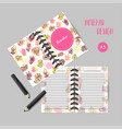 organizer design withflowers notes for girls with vector image vector image
