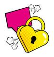 pop art padlock heart shape vector image vector image