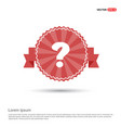 question mark icon - red ribbon banner vector image