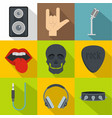 rock music icon set flat style vector image vector image