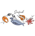 seafood simple background vector image