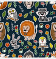 seamless pattern with cute baby animals andflowers vector image