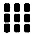 set of black painted rectangle stickers vector image