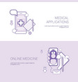 set of medical applications and online medicine vector image