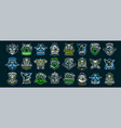 set of military emblems soldiers military vector image