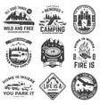 set rv camping badges patches concept