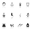 sick icons set with mirror reflection silhouette vector image