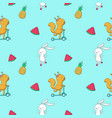 summer seamless pattern with animals fruits vector image