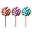 three flavors of lollipops vector image