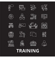 training editable line icons set on black vector image vector image