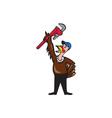 Turkey Plumber Raising Wrench Standing Cartoon vector image vector image