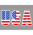 USA letters with flag background