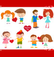 valentines day cards set cartoon vector image