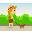 vector cartoon girl with dog vector image